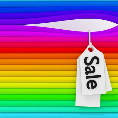 3d colorful Sale sign hanging on a pipe. photo