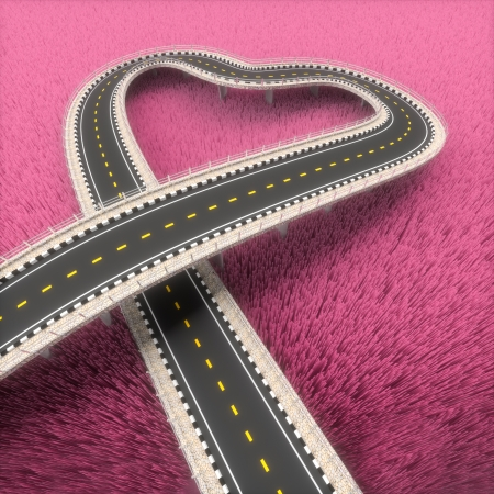 3d road prairie pink heart in the background. photo