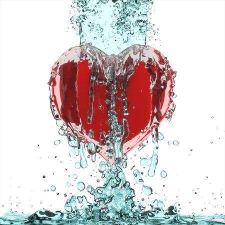 3d heart in Splash water.
