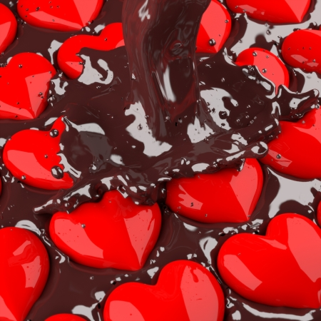 3d chocolate poured into heart red. photo