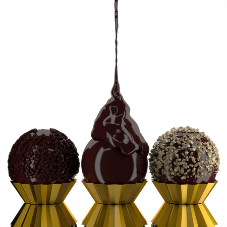3d set chocolate ball on white. photo