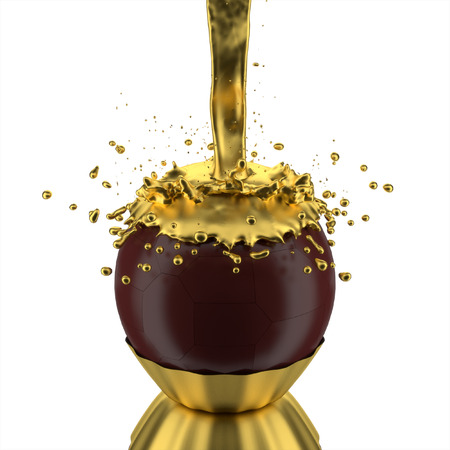 3d splash of gold chocolate ball. photo