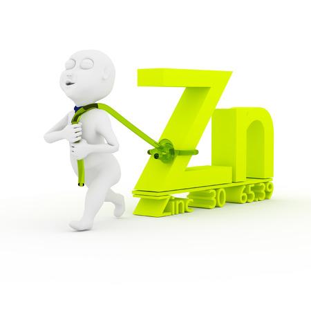 zinc: 3d kids are dragging Zinc  Stock Photo