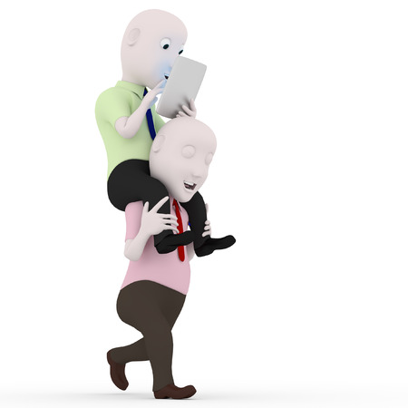 exploit: 3d character men playing piggyback phone.