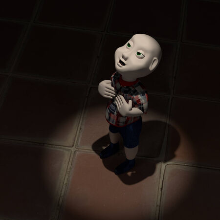 god box: 3d character with children in the dark.
