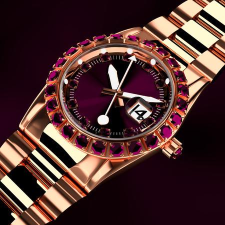 3d watches luxury diamond pink.
