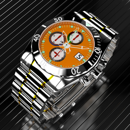 3d luxury watches in chronograph. Stock Photo