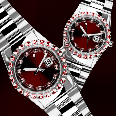 jewelled: Orologi 3d Jeweled lusso in background 2 pz. Archivio Fotografico
