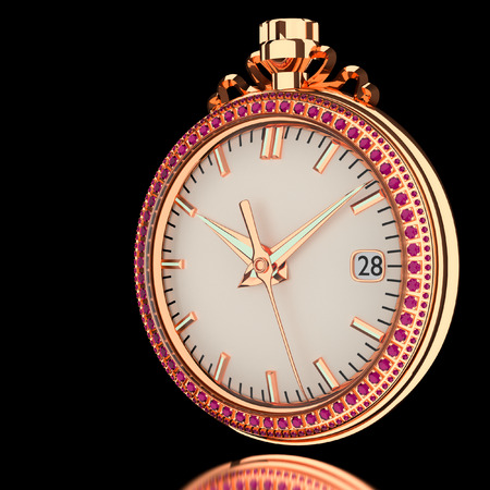 3d pink gold watch in the background.