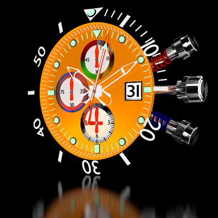 cron�grafo: 3d relojes de lujo en el cron�grafo. Foto de archivo