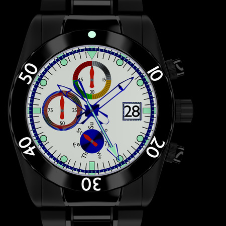 chronograph: 3d wristwatch chronograph men in the background.