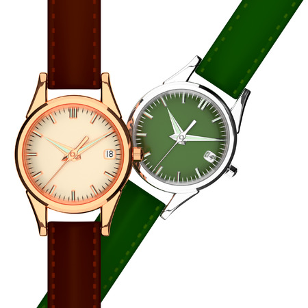 3d wrist watch leather strap on a white background 2 pcs. photo