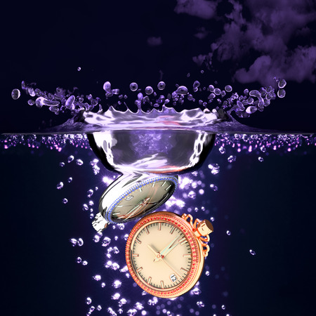 3d clock falling in the water 2 pcs. photo