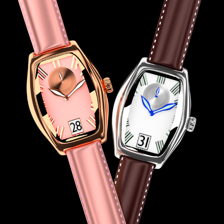 pcs: 3d wrist watch leather strap on background 2 pcs.