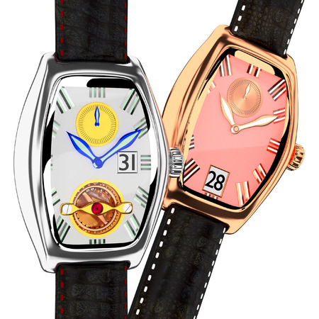 3d wrist watch leather strap on background 2 pcs. photo
