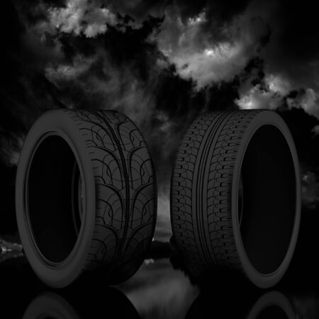 3d tire on a dark sky background. photo