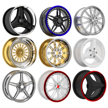 3d wheel collection in the background. photo