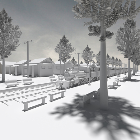3d rendering of model building in the background in black and white. photo