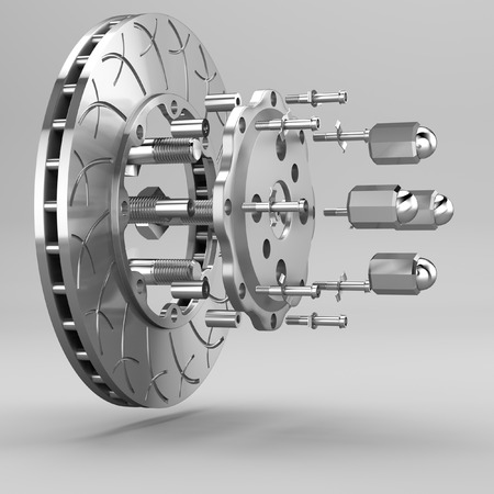 Racing brakes 3d model in the background. photo