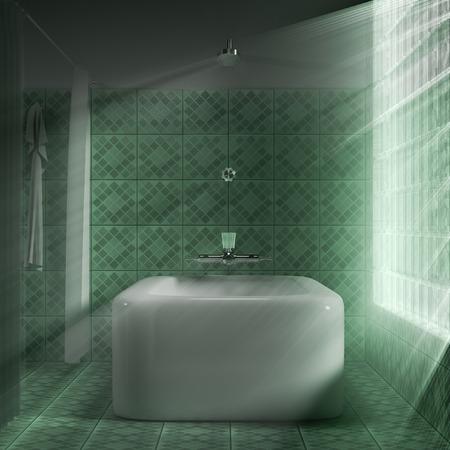 3D render interieur van een badkamer concept. Stockfoto