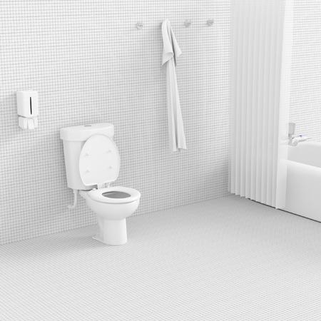3D render interieur van een badkamer concept.