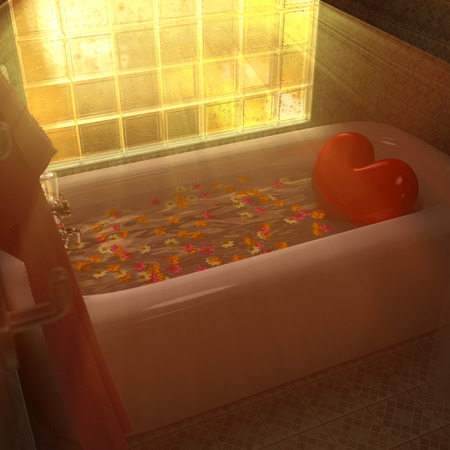 3d rendering Heart in the bathtub. photo