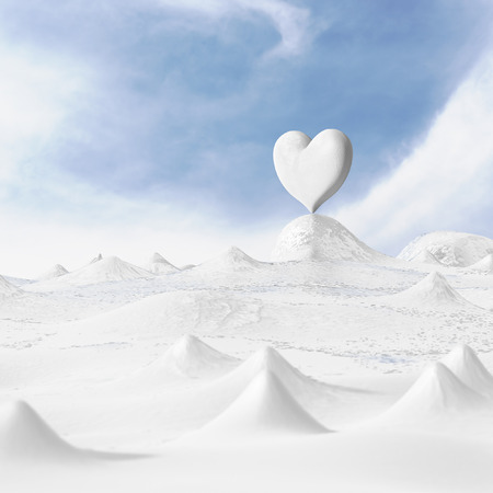 3d rendering of the heart with winter on snow. photo