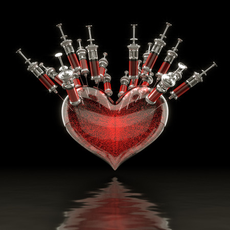 3d rendering of a heart blood. photo