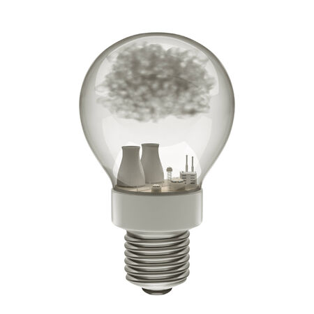3d rendering with the nuclear plant in light bulb. photo