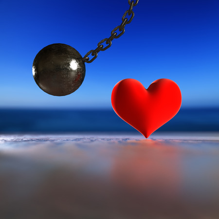 3d rendering steel pendulum heart and focus light. Stock Photo