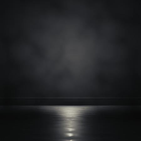 3d rendering focus light in a dark room. Stock Photo