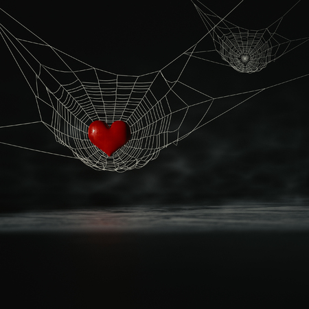 gossamer: 3d rendering of the heart on the Spiders. Stock Photo