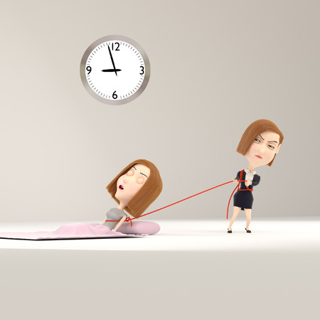 wake up happy: 3d rendering of a cartoon girl wakes up from sleep.