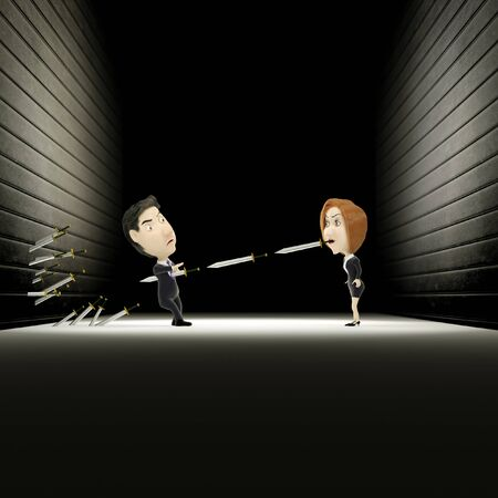 power failure: 3d rendering of a cartoon was censured by the sword out of her mouth. Stock Photo