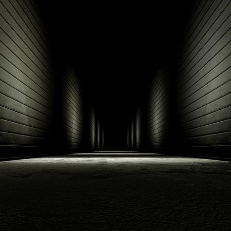 3D-rendering achtergrond donker steegje.