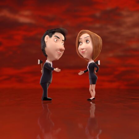 3d rendering cartoon shaking hands and hiding weapons behind. photo