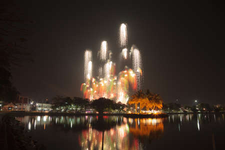 sporting event: Fireworks on the closing date of the annual sporting event at Chantaburi