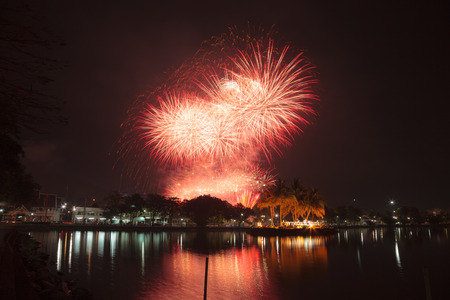 sporting event: Fireworks on the closing date of the annual sporting event at Chantaburi, Thailand March 27, 2015.