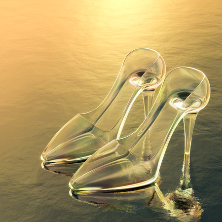 cinderella shoes: 3d rendering of a glass slipper.
