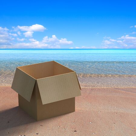 gloom: 3d rendering the empty boxes on the beach during the day.