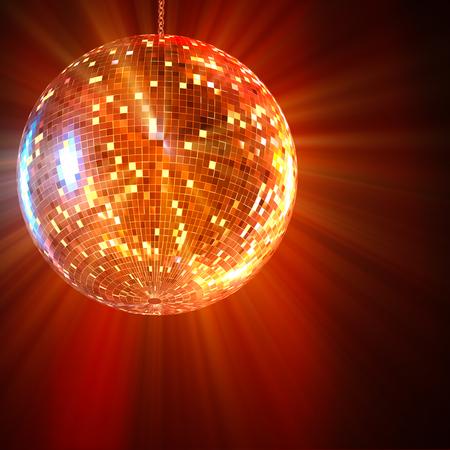 Bola de espejos de discoteca luces brillando en el fondo Representación 3d.