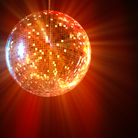 Mirror Ball Disco lights shining in the background 3d rendering.