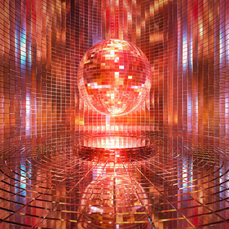 In a glittering mirror ball 3d rendering background.