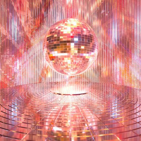 espejo: En una bola de espejos fondo representaci�n 3D brillante.