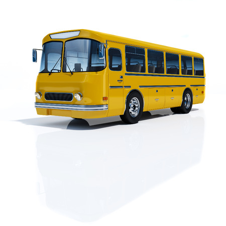 mini bus: Bus yellow on a white background 3d rendering. Stock Photo