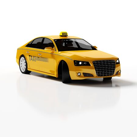 yellow taxi: Yellow Taxi car 3d rendering.