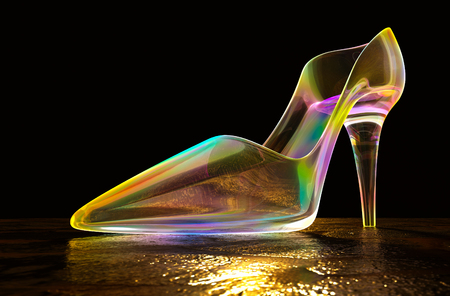 Shoes iridescent glass on the floor in the dark, 3d rendering.
