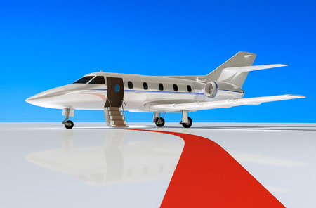 Private jet and red carpet on the airport 3d rendering.