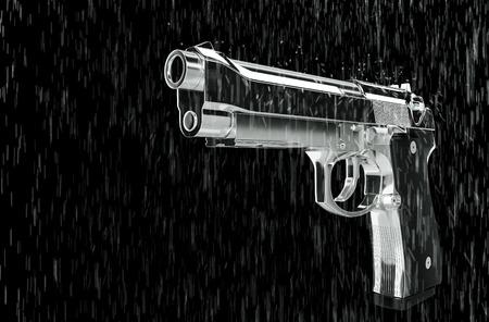 speed gun: Pistol in the rain 3d rendering.