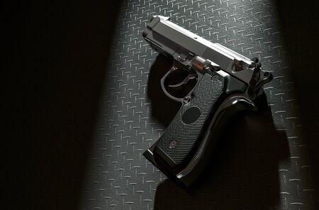 hitman: Pistol on the floor in a light room 3d renderin. Stock Photo